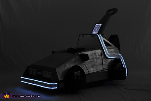 Delorean Time Machine with El wire lit up, Back to the Future Marty McFly Costume