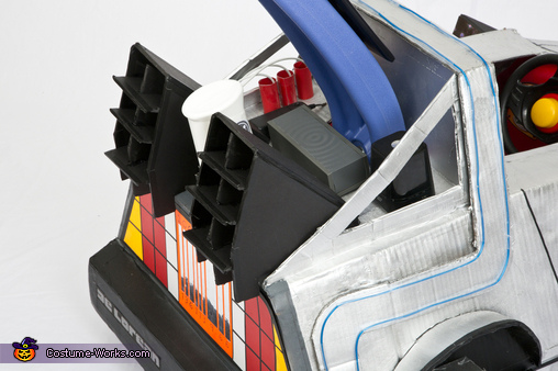 Delorean Time Machine rear details with functional blue tooth speakers, Back to the Future Marty McFly Costume