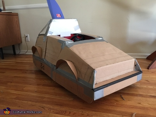 Cardboard cut and shaped before paint job and detailing, Back to the Future Marty McFly Costume