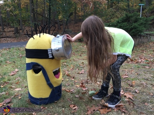 Excited about trying on the costume for the first time!, Minion Costume