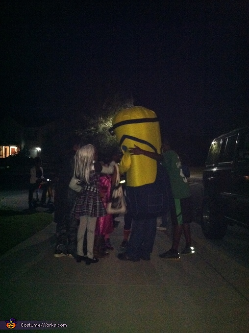 Hugs from kids, The Husband's Masterful Minion Costume
