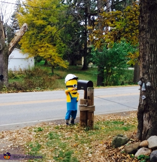 Testing out by getting the mail, Minion Costume
