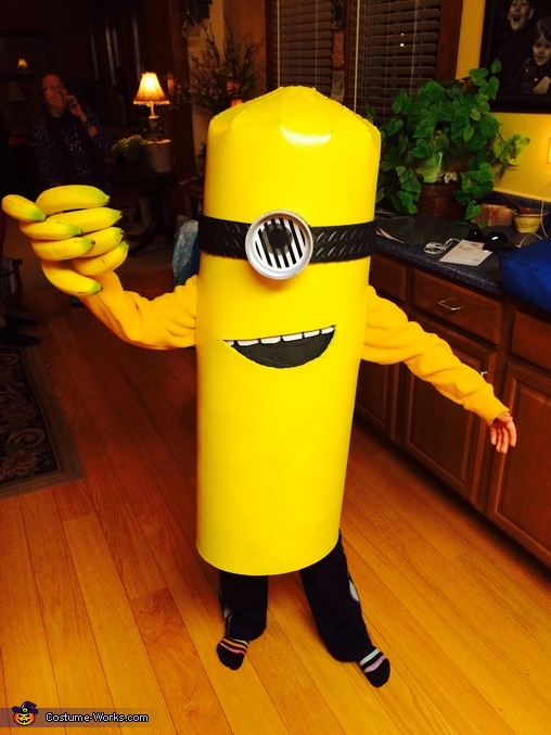 First try on with bananas of course!, Minion Costume