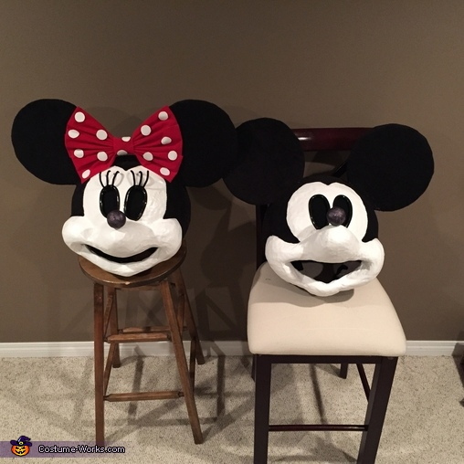 The homemade heads, Minnie and Mickey Mouse Costume