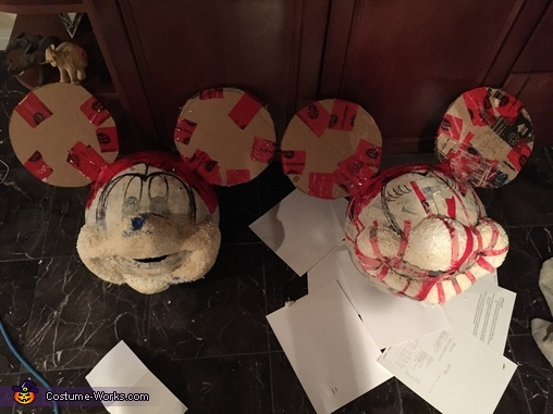 How they looked before another layer of paper mache, painting, and fabric, Minnie and Mickey Mouse Costume