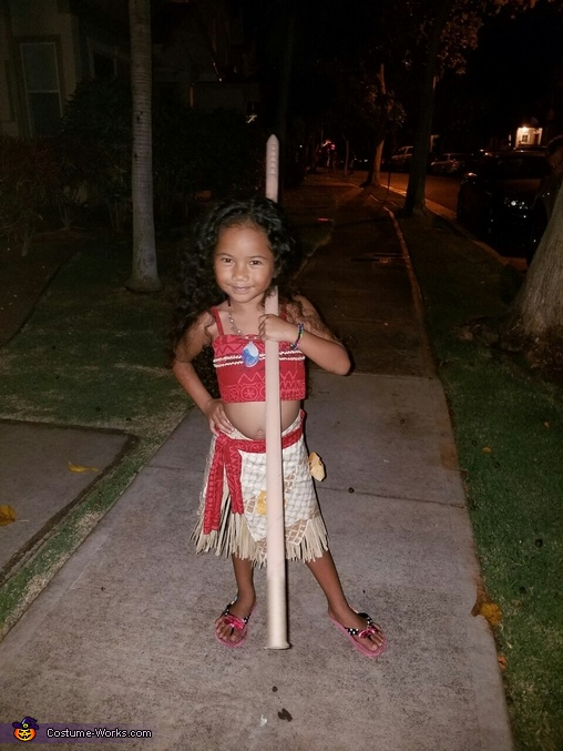 Posing with her spear, Moana Costume
