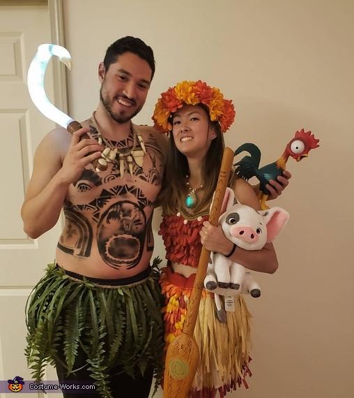 Moana and Maui Homemade Costume