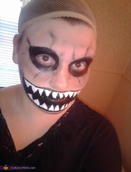 Getting the face done, Ryne Miller Monster Girl Costume