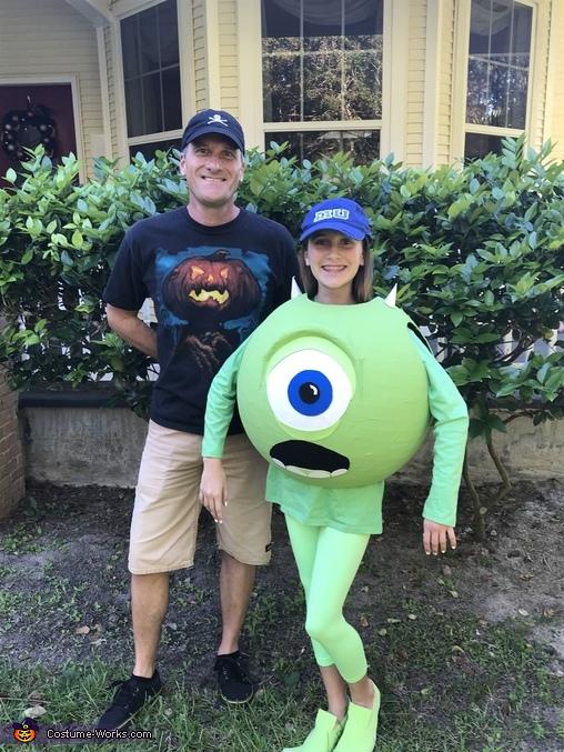Julia with her costume creator Dad!, Monsters, Inc. Mike Wazowski Costume