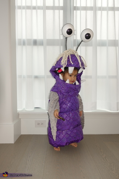 Boo getting ready for trick or treating 2, Monsters Inc Boo Costume