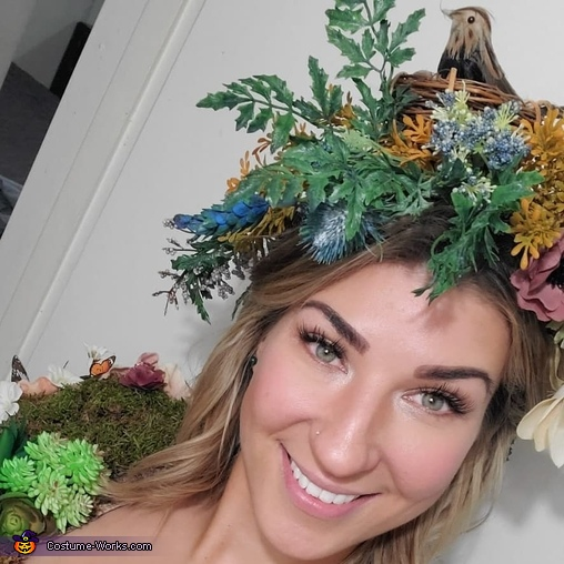 Makeup and wild flower bird and nest crown, Mother Nature Costume