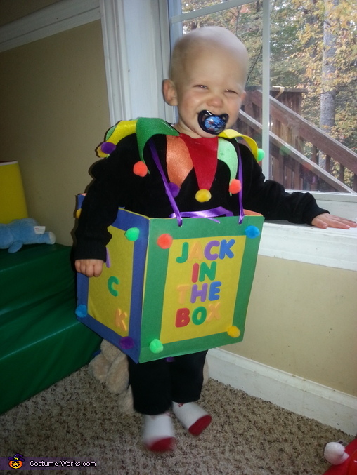 Getting him in the box was tough, Mr. Jack in the Box Baby Costume