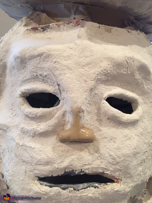 Papier mache and papier clay during the construction of the face, Mr. Peanut Costume