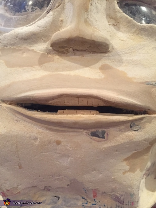 Then gave him lips and teeth using more epoxy putty., Mr. Peanut Costume