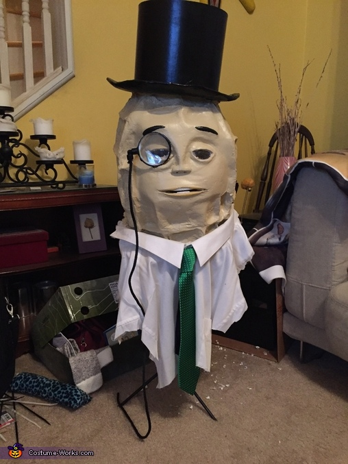 Shirt and tie were cut and zip tied to the neck., Mr. Peanut Costume