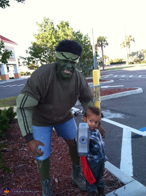 When duty calls, I go by Thor.  Rolling with the Hulk, Mr T Costume