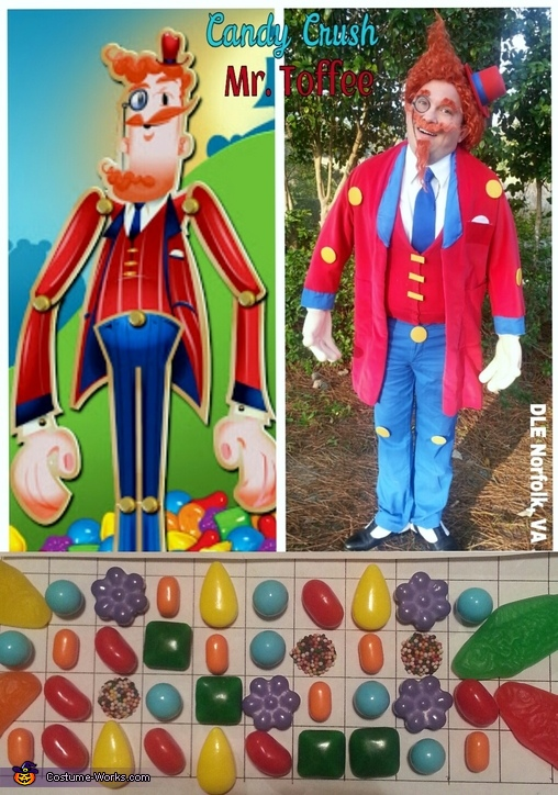 Side by Side comparison - Mr. Toffee & me in costume with real candies!, Mr. Toffee with Candy Crush Candy Costume