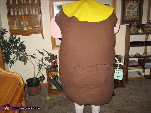 Back pocket for storing additional parts, Mrs Potato Head Costume