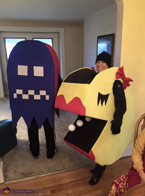 Ms PacMan and Ghost Homemade Costume