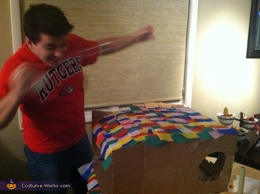 My husband in the process of making the pinata, Mexican and Pinata Costumes