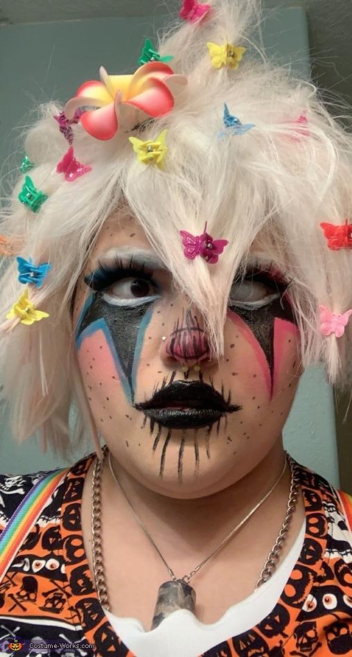 One contact in, Nagito Komaeda Clown Cosplay Costume