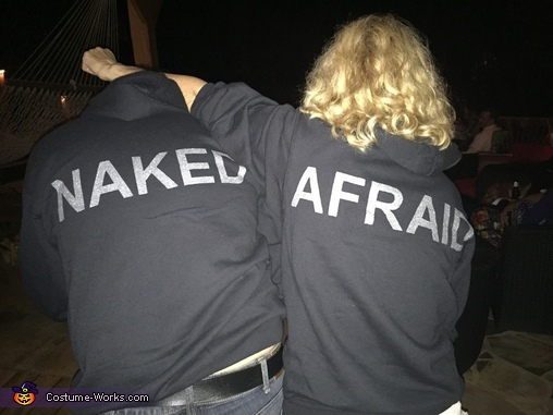 Prepared for the Costume Change with Homemade Naked & Afraid Sweatshirts., Naked and Afraid Costume