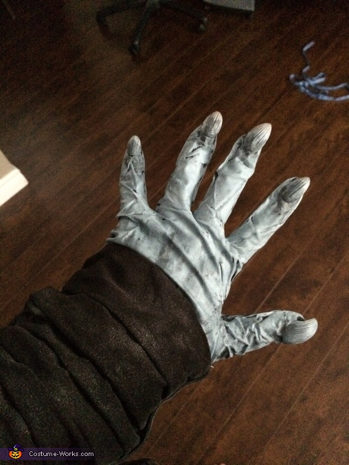 I used latex gloves and claws, painted them to make the creepy hands, Night King from Game of Thrones Costume