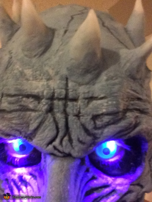 Close up of the eyes and horns, Night King from Game of Thrones Costume