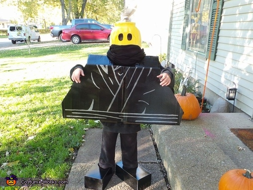 Waiting for mom to take picture, Ninja Lego Man Costume