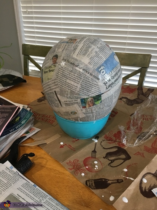 The start of dry bowser mask, paper mache around balloon, Nintendo Family Costume