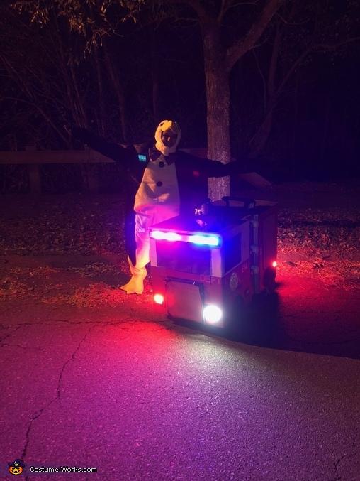 With Noah and Lights, Noah's Firetruck Costume