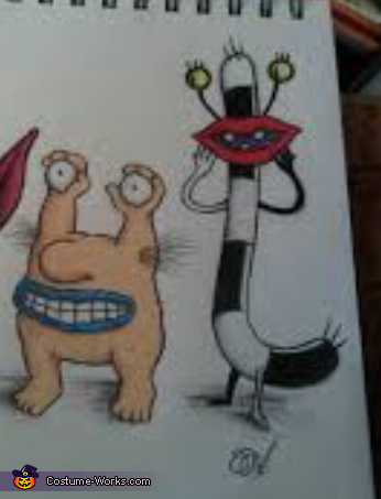 The actual cartoon characters, Aahh!!! Real Monsters: Oblina and Krumm Costume