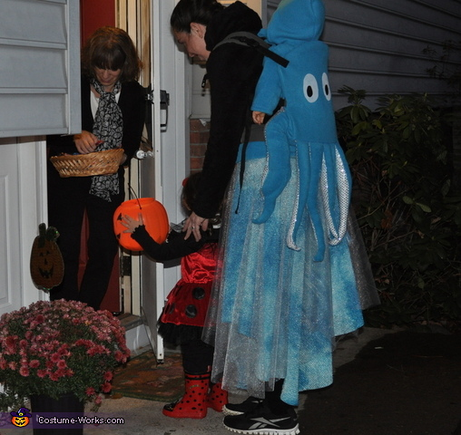 Action shot of trick or treating with my 3 year old, Ladybug Girl!, Octopus Swimming in the Ocean Costume