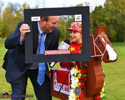 An interview in the Winner's Circle., Off to the Races! Costume