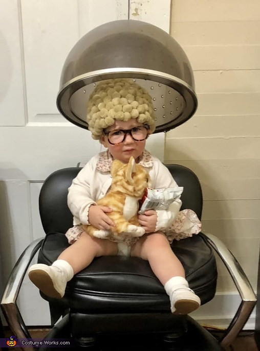 Getting her hair done., Old Cat Lady Costume