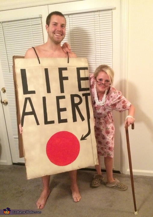 Old Lady and a Life Alert Couple Costume