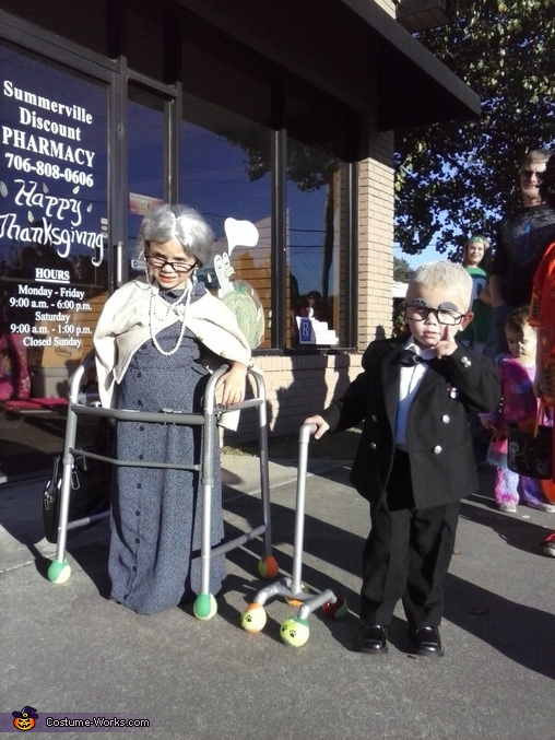 both kids dressed up together , Old Lady and Carl from Up Costume