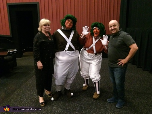 My friend and myself with the Wonka kids (grown up), Oompa Loompa Costume