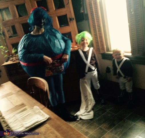 Oompa Loompa and Violet Kids Homemade Costume