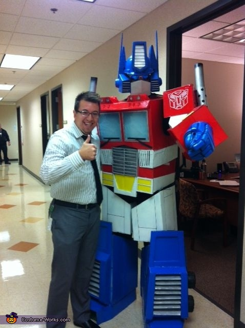 At the office, Optimus Prime Costume