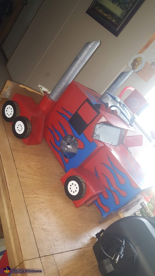 the day finishing painting, Optimus Prime Costume