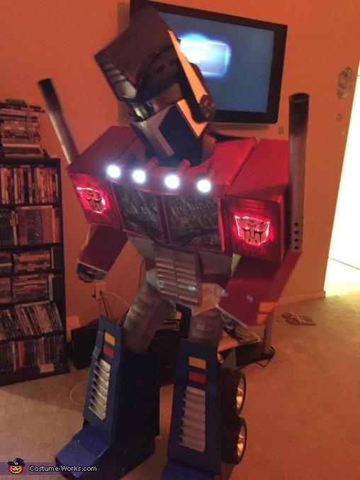 In the middle of doing 'The Robot' dance., Optimus Prime Costume