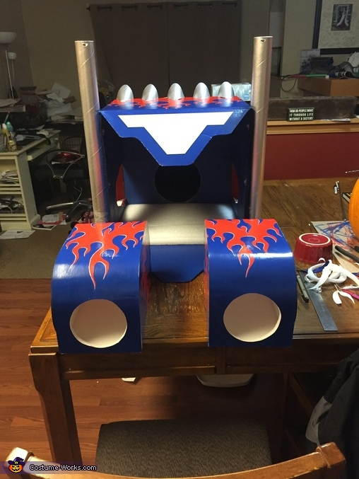 Rear view, DIY Optimus Prime Costume for Boys