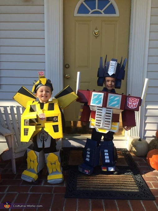 Optimus Prime and Bumblebee Transformers Homemade Costume