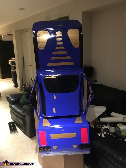 Rear view in upright mode., Optimus Prime as Bumblebee Costume