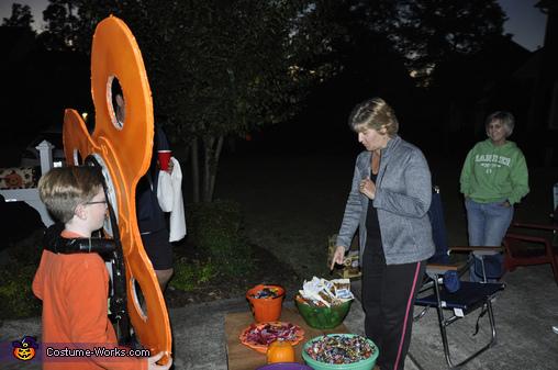 Fidget Spinner -side view of harness and spinner!, Orange Fidget Spinner Costume