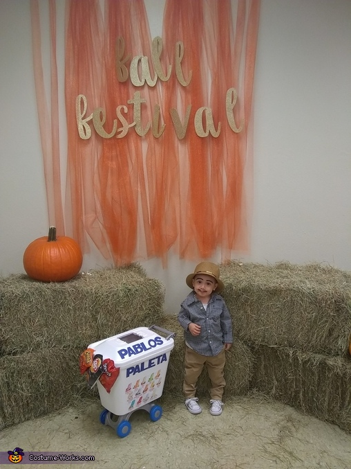 Pablo posted up at the Fall festival., Pablo the Paletero Costume