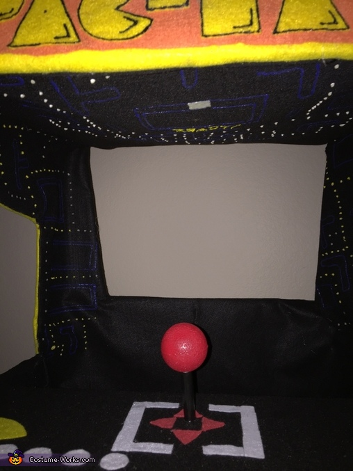 Inside of arcade, Pac-Man Arcade with Pac-Man Costume