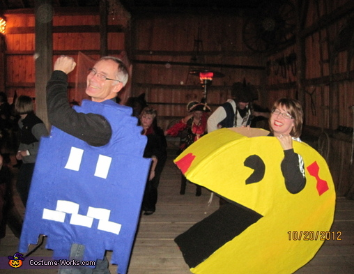 Pac Man and Blue Ghost Couple Costume