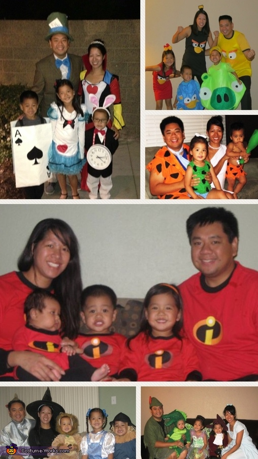 Collage of the first 6 years., PacMan Family Costume